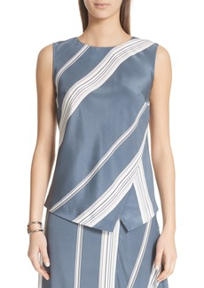 St. John Collection Stripe Stretch Silk Satin Shell