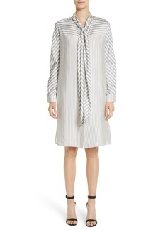 St. John Collection Stripe Tie Neck Shirtdress