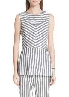 St. John Collection Stripe Twill Linen Blend Shell