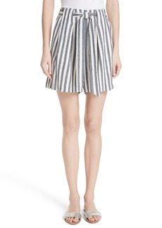 St. John Collection Stripe Twill Linen Blend Shorts