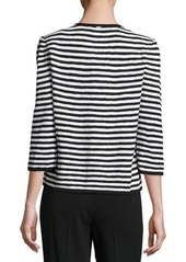 St. John Striped Button-Front Cardigan