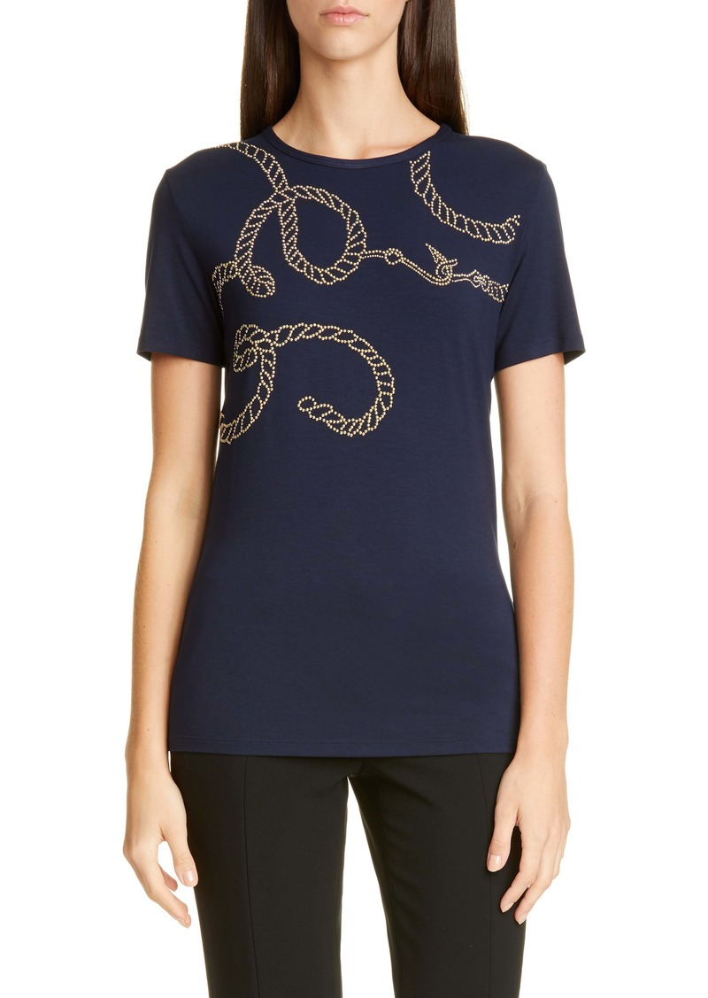 St. John Collection Studded Soft Wash Jersey Tee