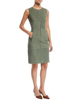 St. John Suede Front-Zip Sheath Dress