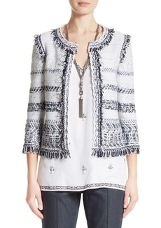 St. John Collection Tajdar Fringe Tweed Jacket