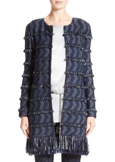 St. John Collection Tara Fringe Tweed Topper