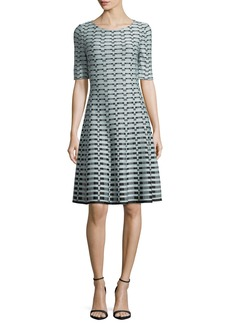 St. John Textural-Grid-Knit Fit-and-Flare Dress