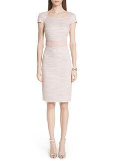 St. John Collection Textural Micro Tweed Knit Dress