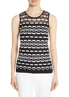 St. John Collection Textural Wave Knit Shell