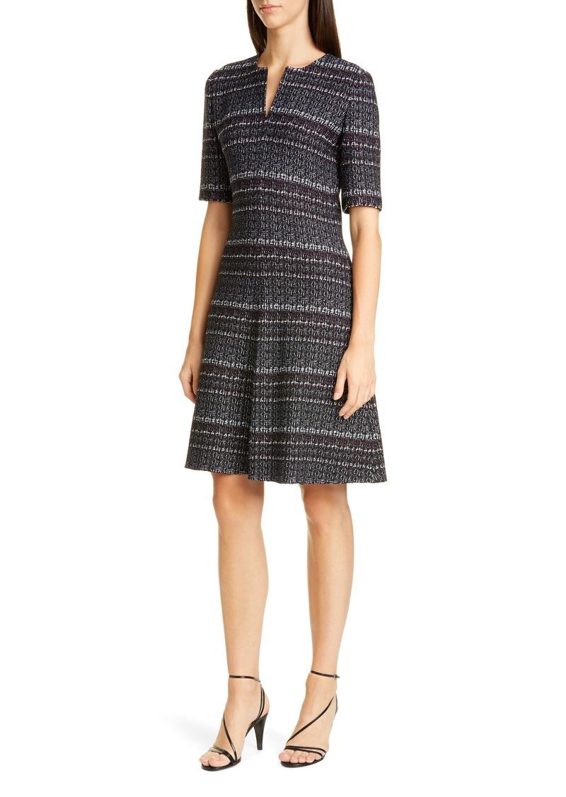 St. John Collection Texture Bouclé Tweed A-Line Dress