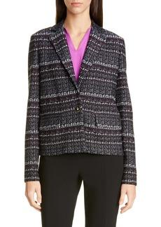 St. John Collection Texture Bouclé Tweed Short Jacket