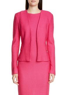 St. John Collection Texture Knit Wool Blend Cutaway Jacket