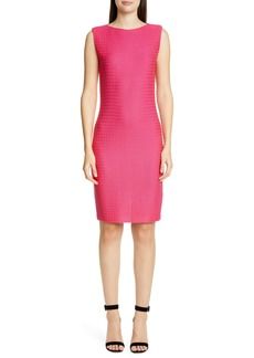 St. John Collection Texture Knit Wool Blend Sheath Dress