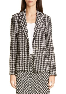 St. John Collection Textured Bouclé Houndstooth Knit Jacket