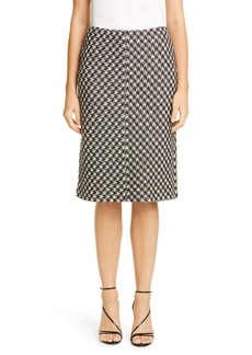 St. John Collection Textured Bouclé Houndstooth Knit Skirt