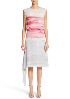 St. John Collection Textured Brushstroke Print Silk Satin Dress