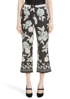 St. John Collection Textured Floral Print Capri Pants