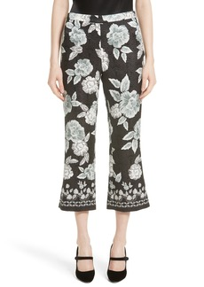 St. John Collection Textured Floral Print Capri Pants