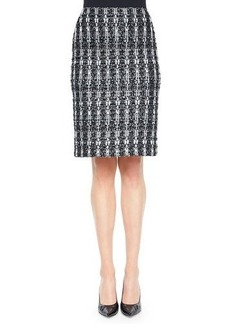 St. John Collection Textured Sparkle Tweed Pencil Skirt