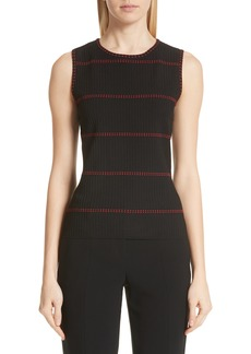 St. John Collection Textured Stripe Sleeveless Top