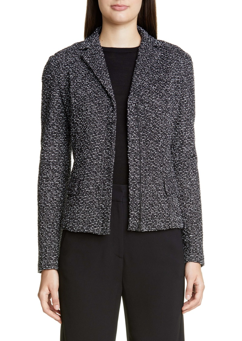 St. John Collection Textured Wool Blend Bouclé Jacket