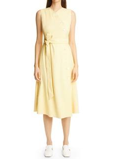 St. John Collection Tie Belt Stretch Twill Midi Wrap Dress