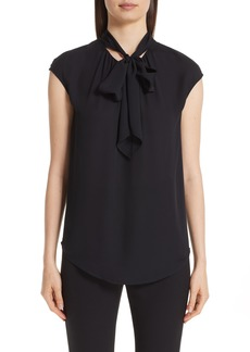 St. John Collection Tie Neck Double Silk Georgette Shell