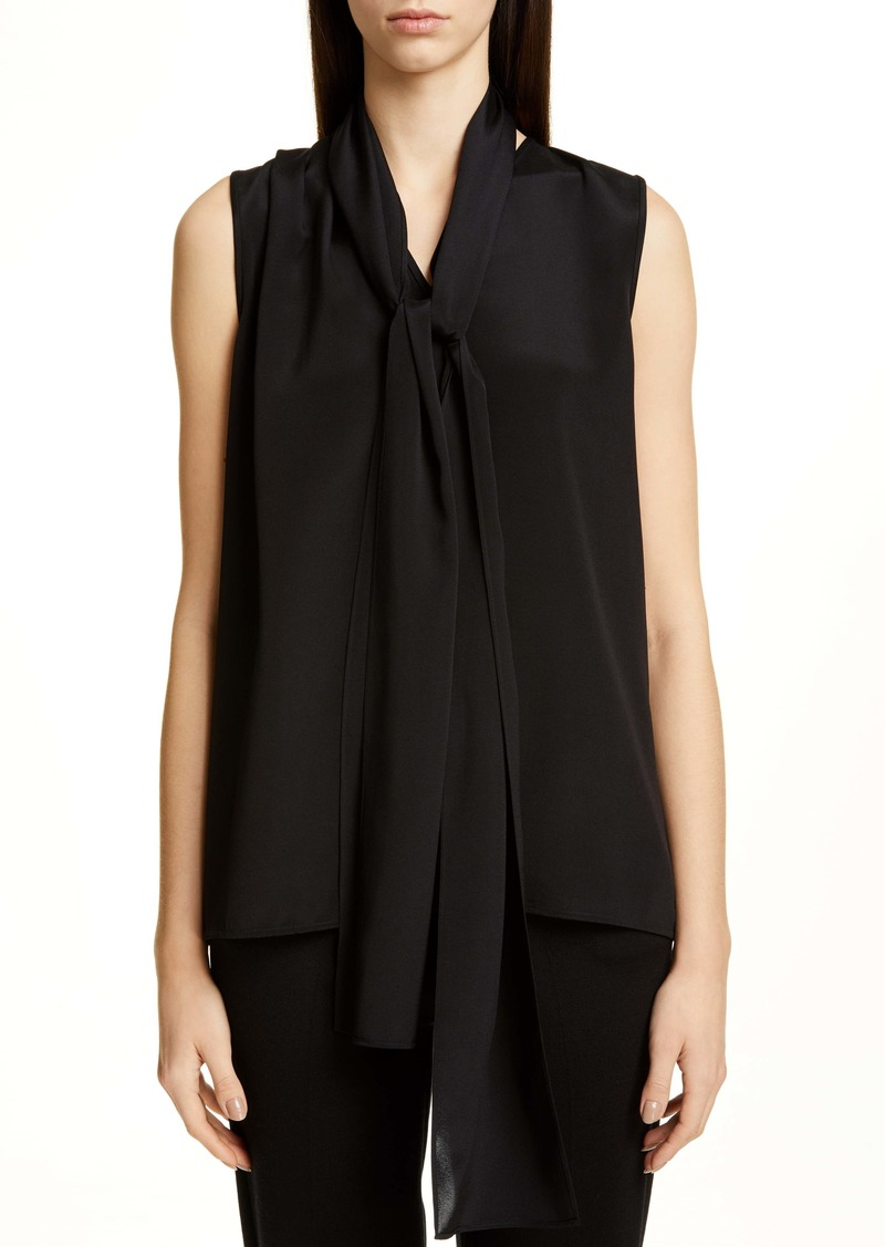 St. John Collection Tie Neck Stretch Silk Shell