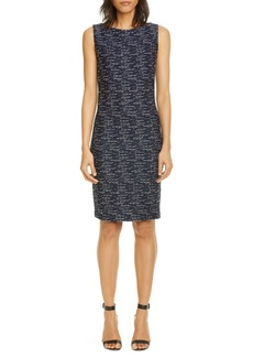 St. John Collection Two-Tone Float Knit Tweed Sheath Dress