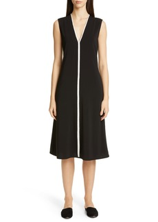 St. John Collection V-Neck Matte Jersey Dress