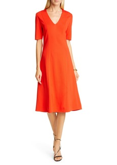 St. John Collection V-Neck Milano Sweater Dress