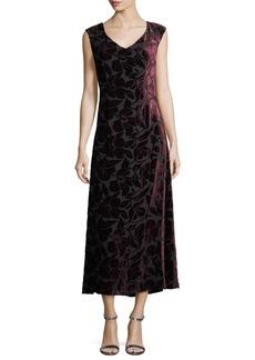 St. John Collection Velvet Floral Burnout Midi Dress