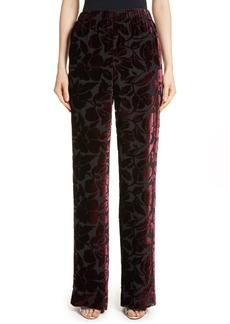 St. John Collection Velvet Floral Burnout Pants