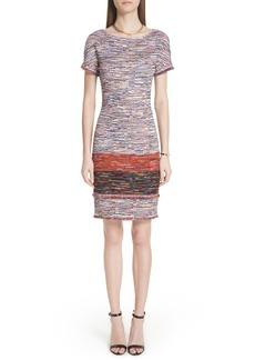 St. John Collection Vertical Fringe Multi Tweed Knit Dress
