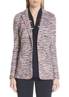 St. John Collection Vertical Fringe Multi Tweed Knit Jacket