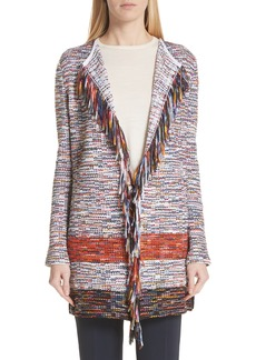 St. John Collection Vertical Fringe Multi Tweed Knit Waterfall Cardigan