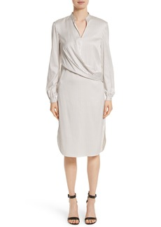 St. John Collection Vertical Stripe Stretch Silk Dress