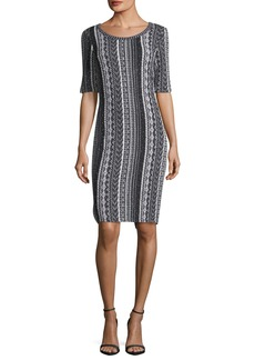 St. John Vertical Striped Tweed Sheath Dress