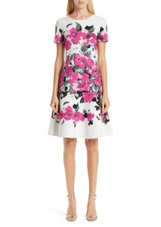 St. John Collection Vibrant Blooming Jacquard Fit & Flare Dress