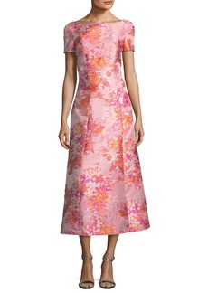 St. John Washed Bouquet Jacquard Cocktail Dress