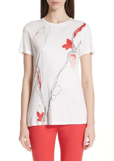 St. John Collection Watercolor Tulip Print Tee