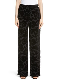 St. John Collection Wide Leg Burnout Velvet Pants