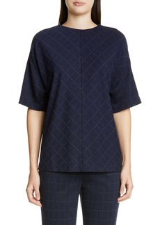 St. John Collection Windowpane Double Face Jersey Top