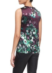 St. John Collection Woodland Floral-Print Ruffle Shell