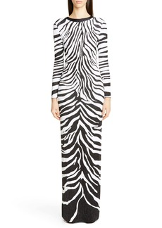 St. John Collection Zebra Jacquard Knit Bracelet Sleeve Gown