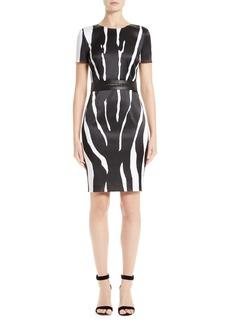 St. John Collection Zebra Stretch Satin Dress
