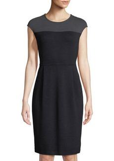 St. John Contrast-Yoke Knit A-Line Dress