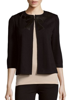 St. John Cropped Bow Wool-Blend Cardigan