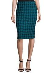 St. John Double-Knit Houndstooth Pull-On Skirt