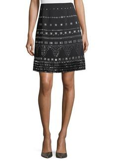St. John Embellished A-line Skirt