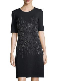 St. John Embellished Knit Half-Sleeve Sheath Dress